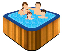 family in outdoor spa