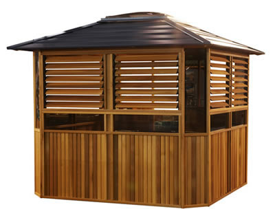 cedar gazebo spa pool fence